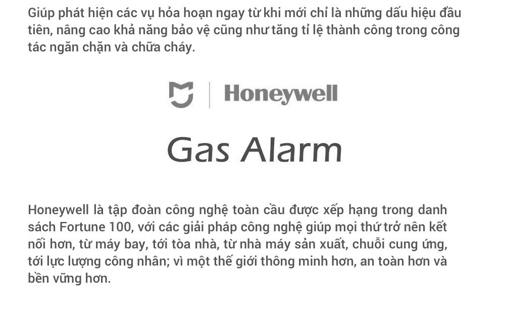Thông số sản phẩm Cảm Biến Khí Gas Xiaomi Honeywell (Dùng Chung Bộ Homekit)