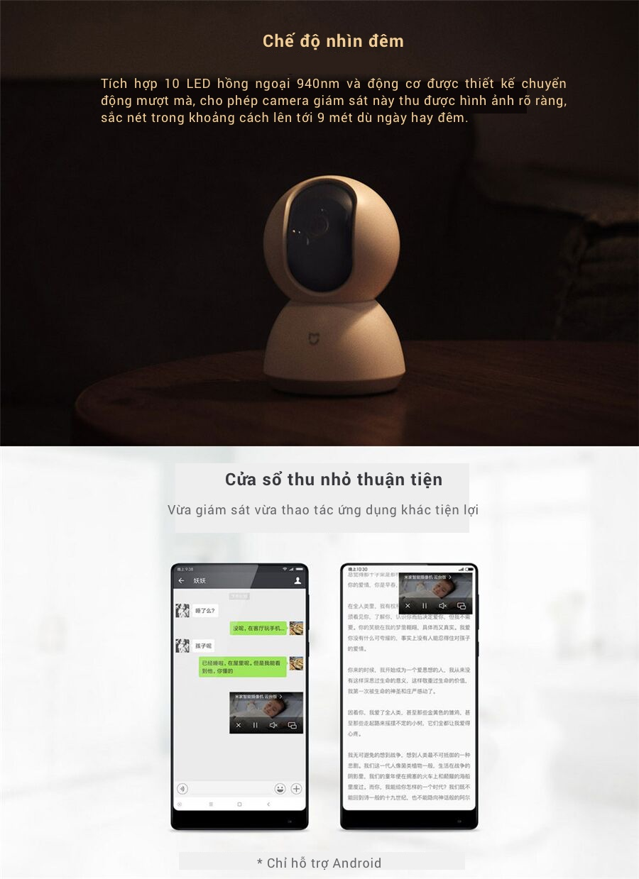 Camera WiFi IP Xiaomi Mijia Smart 1080P 360° (Phiên bản PTZ) 11