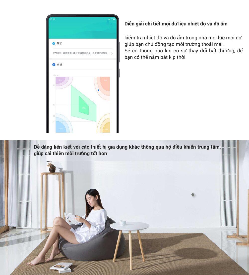 Các thông số của Nhiệt kế và ẩm kế kỹ thuật số Xiaomi Mijia có kết nối Bluetooth và hiển thị LCD bán ở tphcm