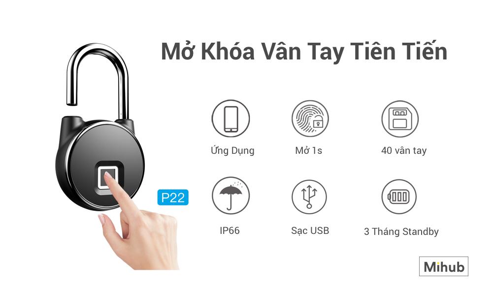 Mua ổ khóa vân tay thông minh Anytek P22 chống nước phiên bản app tại TPHCM