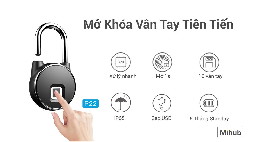 Ổ Khóa Vân Tay Thông Minh Anytek P22 hàng chính hãng