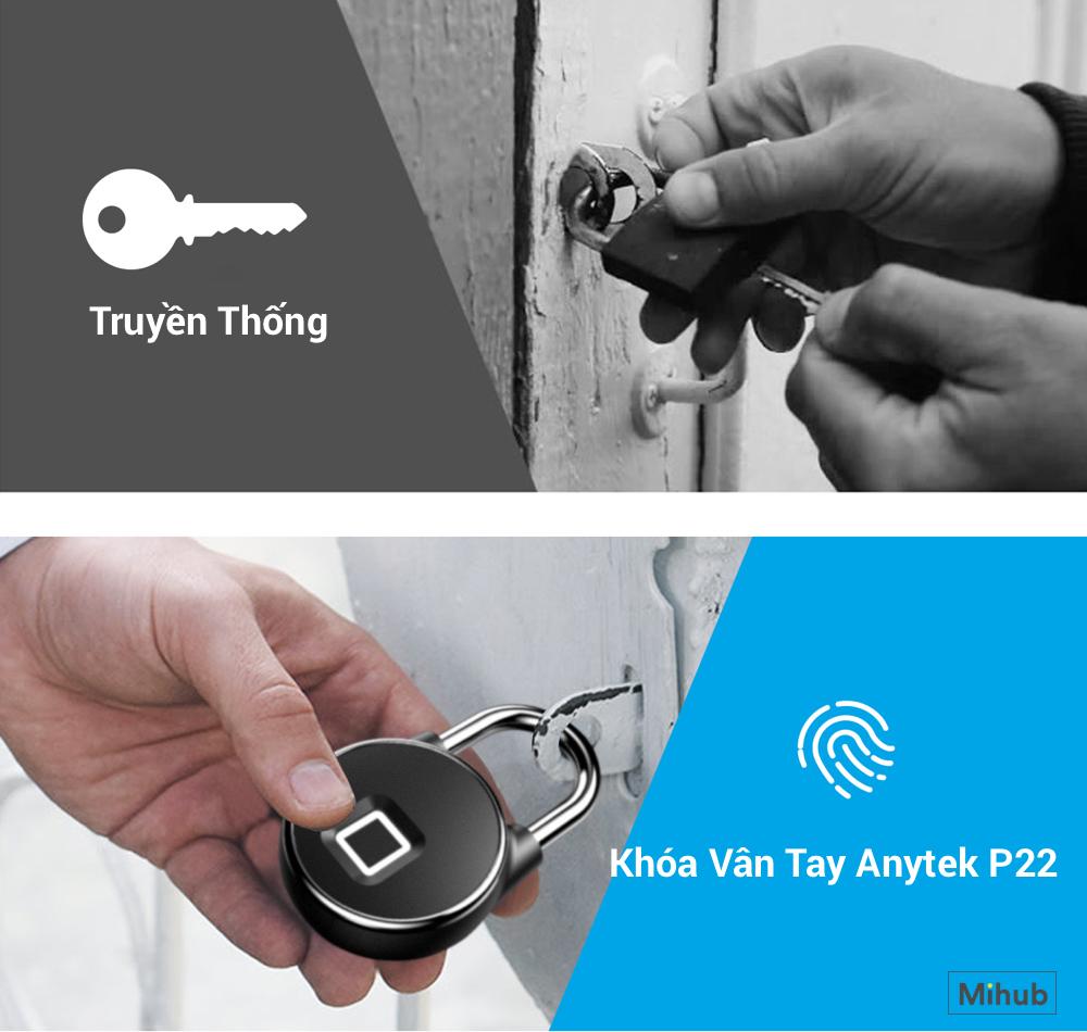 Anytek P22 phiên bản app là ổ khóa thông minh vân tay chống nước uy tín