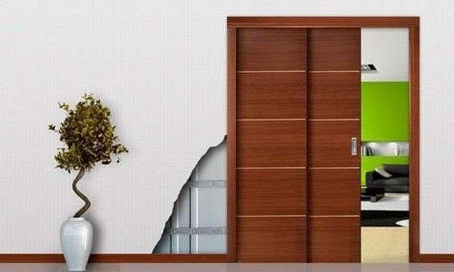 Cửa ghép các tấm gỗ lại với nhau theo phong cách tối giản